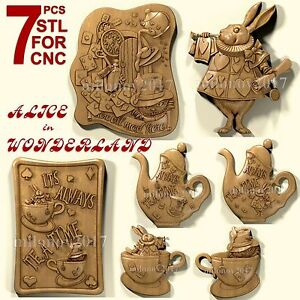 3d Stl Model Relief For Cnc Router Artcam 7 Pcs Alice In Wonderland Pack