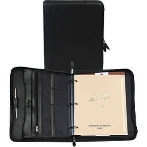 Scully Plonge Leather 3 Ring Zippered Monthly Weekly Planner Agenda Black