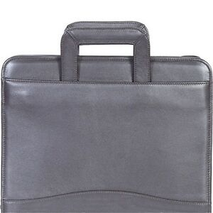 Scully Italian Leather 3 Ring Binder Note Pad Holder With Handles Black