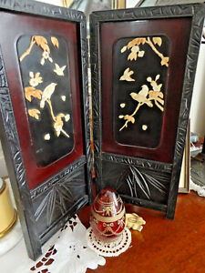 Ant Asian Tabletop Screen Black W Bird Decor In Relief 14 Tall Japanese Exc