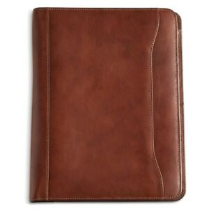 Mosaic Leather Zip Around Padfolio Note Pad Holder Organizer Cognac