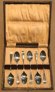Antique Set Of 6 Sterling Silver Tea Spoons Sheffield 1896