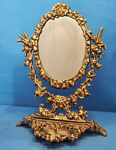 Ornate Vanity Make Up Mirror Cast Iron Bronzed Finish