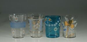 Set Of 4 Assorted Victorian Glass Tumblers Handpainted Flowers C 1890 Set 3