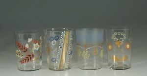 Set Of 4 Assorted Victorian Glass Tumblers Handpainted Flowers C 1890 Set 4