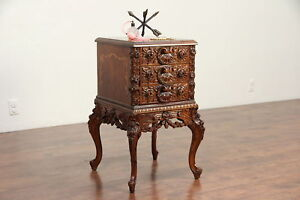 Italian Marquetry Vintage Carved Nightstand Lamp Table Or Small Chest 29848
