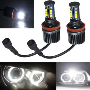 2 Packs 120w H8 Led Angel Eyes Halo Ring Light Bulbs Hid Xenon White Fit Bmw New