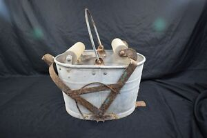 Vintage White Oval Galvanized Metal Mop Bucket Pail Wood Wringer Antique Pail