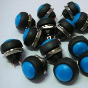 100pcs Blue 12mm Off on Momentary Push Button Horn Switch For Car Boat Horn