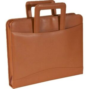 Royce Leather 3 Ring Binder Note Pad Holder With Handles Tan
