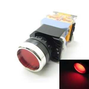 10 X Round Red Push Button Switch Latching 220v Led Light 22mm 1 No 1 Nc 10a