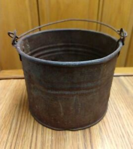 Vintage Antique Metal Berry Picking Bucket Primitive