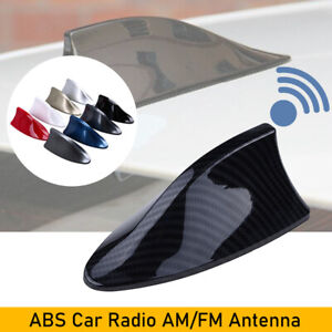 Carbon Fiber Look Shark Fin Antenna Am Fm Roof Decoration Radio Aerial Universal
