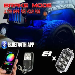 8pcs Rgb Led Rock Lights Wireless Bluetooth Music Flashing Brake Mode Function