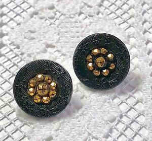 2 Victorian Black Glass Buttons Floral Border With Faceted Gold Luster Center
