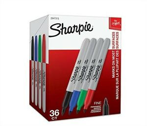 Sharpie Permanent Markers Fine Point Red Blue Black Supplies Office 36 Pieces