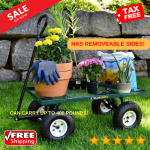 New Steel Utility Cart Garden Yard Wagon Heavy Duty Rolling Trailer Removable