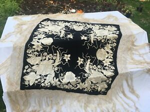Vintage Exquisite Antique Silk Canton Hand Embroidered Fringed Piano Scarf