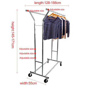 Space Saving Double Rail Adjustable Clothes Hanger With Shoe Rack Garage Storage