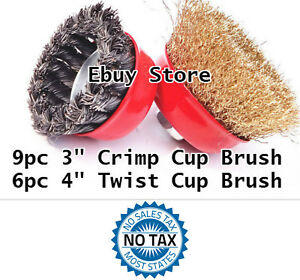 15pc 3 Arbor Fine Crimp 4 Knot Wire Cup Brush Twist For Angle Grinder 15 Pc