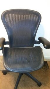 Herman Miller Aeron Mesh Adjustable Office Chair Black In Color Size B Very Comf