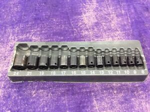 Snap on Metric 3 8 Shallow Impact Socket Set Imfm 8mm 24mm W Tray Used