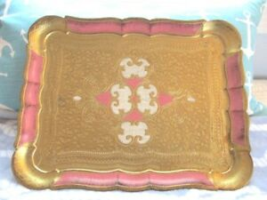 Large Vintage Ornate Italian Florentine Gold Gilt Pink Tole Design Serving Tray