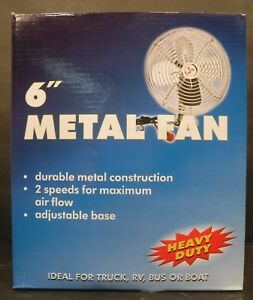 12 Volt Chrome 6 Metal Fan 2 Speeds Adjustable Base Truck Rv Bus Car Or Boat