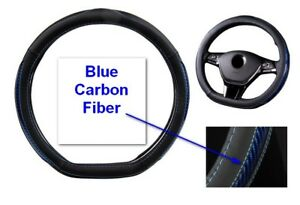15 38cm Type D Style Black Pu Leather Blue Carbon Fiber Car Steering Wheel Cover