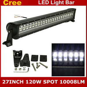 27inch 120w Cree Strobe Flashing Led Light Bar Offroad Driving Jeep Boat 12v 24v