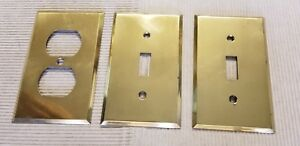 3 Bryant Brass Electrical Switch Plate Outlet Covers Vintage Usa