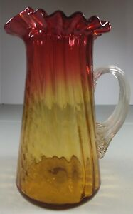 Antique Paneled Swirl Amberina Glass Pitcher Ruffled Top Applied Ribbed Handle