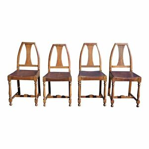Antique Set Of 4 Mission Arts Crafts Solid Oak Dining Chairs