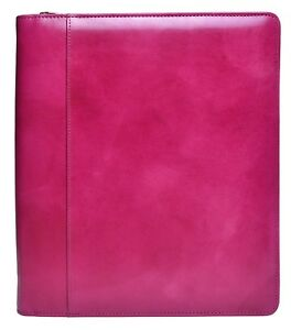 Bosca Old Leather Portfolio Note Pad Holder Organizer Fuchsia