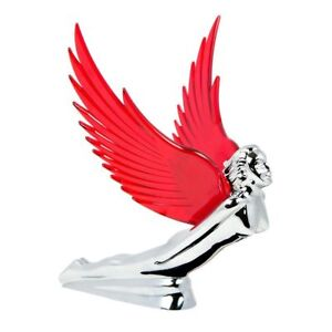 Hood Ornament Flying Goddess Chrome With Red Windrider Wings Peterbilt Kw Fl