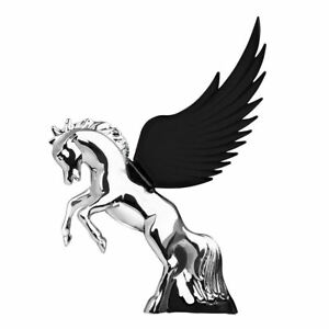 Hood Ornament Flying Stallion Chrome W Black Windrider Wings Peterbilt Kw Fl
