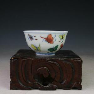 China Antique Porcelain Ming Doucai Contrasting Color Butterfly Teacup Bowls