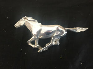 Vintage Car Emblem Silver Mustang Horse 6 Inches