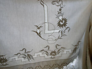 White Bed Linen 86 6 112 5 Hand Drawn Work Embroidery Wedding Antique