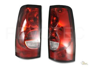 03 06 Chevy Silverado 1500 2500 Pickup Red Clear Oe Style Tail Lights Lamps