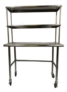 Stainless Steel Work Table Open Base 30 X 36 Double Overshelf 12x36 Wheels