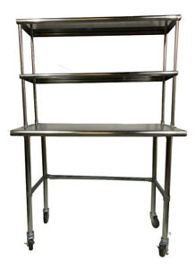 Stainless Steel Work Table Open Base 30 X 72 Double Overshelf 12x72 Wheels