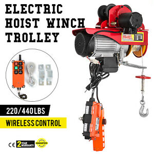 Electric Wire Rope Hoist W Trolley 220lb 440lb A3 Steel Industrial 110v
