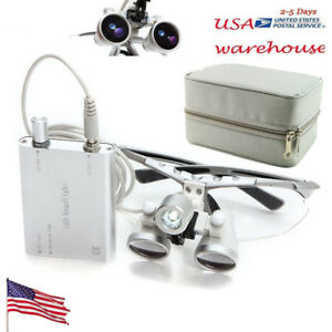 Dental Loupes 2 5x 420mm Surgical Binocular led Head Light Lamp carry Case Usa