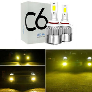 2x New 9005 9006 3000k Golden Yellow High Power Cob Led Fog Lights Driving Bulb