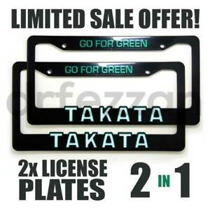 2x Takata Go For Green Pair Illest Fatlace Bride Seat Belt License Plate Frame