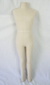 Male Full Body Torso Legs 1 Pc Mannequin Cream Cloth Covered Dress Form Display