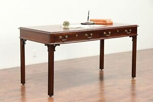Traditional Vintage Walnut Library Table Or Writing Desk Mt Airy 29870