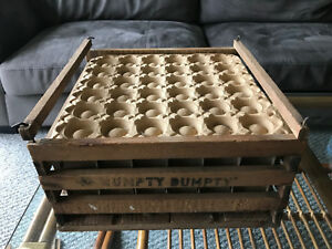 Antique Egg Box Crate Shipping Humpty Dumpty W Inserts