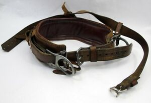 Bashlin D20 Leather Line Worker lineman s 473s D ring Safety Climbing Belt 160nl